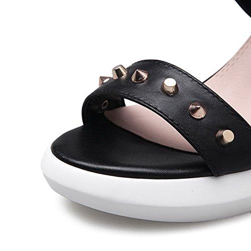 AgooLar Mujeres Sólido Hebilla Puntera Descubierta Plataforma Sandalia Negro