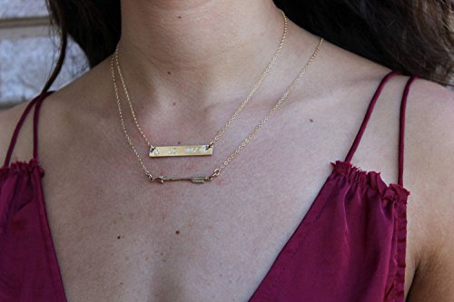 Sideways arrow necklace Birthstone necklace Sterling Silver Arrow Gold Personalized Necklace Arrow necklace Hand-stamped Disc
