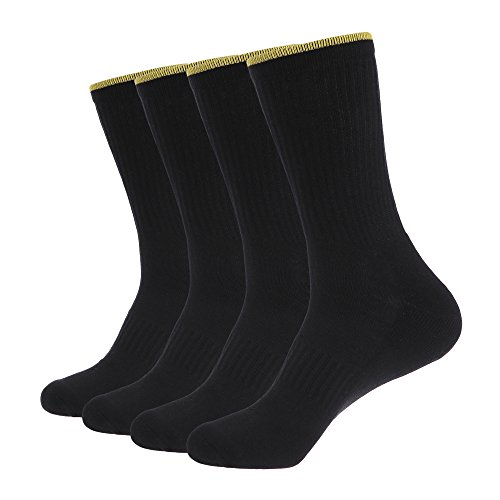 ZLYC Black Pack Climbing Cushion Reinforced Socks Cotton Crew 4 Mens with Hiking Walking ZfrvZqT