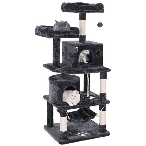 Perch Cat Play Furniture - BEWISHOME Cat Tree Condo Tower Kitten Furniture Activity Center Pet Kitty Play House with Sisal Scratching Posts Perches Hammock Grey MMJ01B