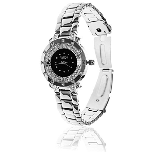 18K White Gold Plated Women's Watch with Adjustable Band Links and Encrusted with 60 Crystals by Matashi (Black - Face Crystals Around