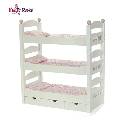 "Emily Rose 18 Inch Doll Furniture for American Girl Dolls | 3 Single Stackable Doll Beds in One! Triple Doll Bunk Bed and Doll Clothes Storage Drawer | Fits 18"" Journey Girls and My Life Dolls"