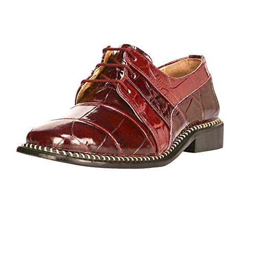 Burgundy Suede Kids Shoes - Liberty Boys Gliders Genuine Leather Crocodile Print Lace up Dress Shoes (Size 11 US/Age 4-8 Years/Length 17.5Cm, Burgundy)