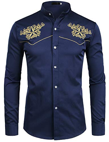 - ZEROYAA Mens Hipster Design Gold Star Embroidery Slim Fit Long Sleeve Mandarin Collar Shirts Tops ZZCL07 Navy Blue X Large