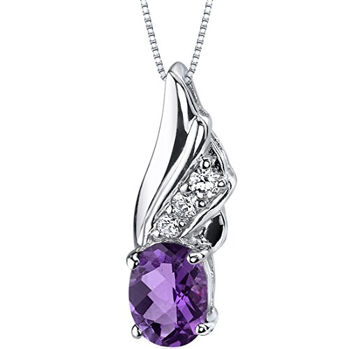 Graceful Angel 1.00 carats Oval Shape Sterling Silver Amethyst Pendant - Purple Sliders Pendant