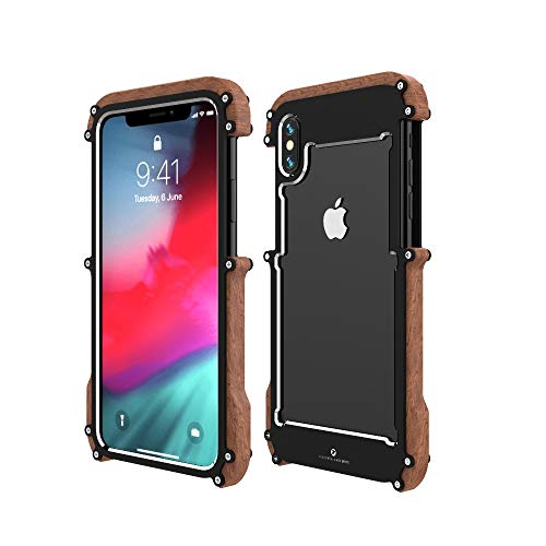 (iPhone XS Wood Metal Frame Case,Drop Protection Ultra Thin Aluminum Metal Cover Protective Case Shockproof Dropproof Bumper Frame for Apple iPhone XS 5.8inch 2018 (Black))