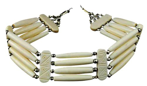 VIRTUAL STORE USA Buffalo Bone Hairpipe Four Line Native American Inspired Choker Necklace