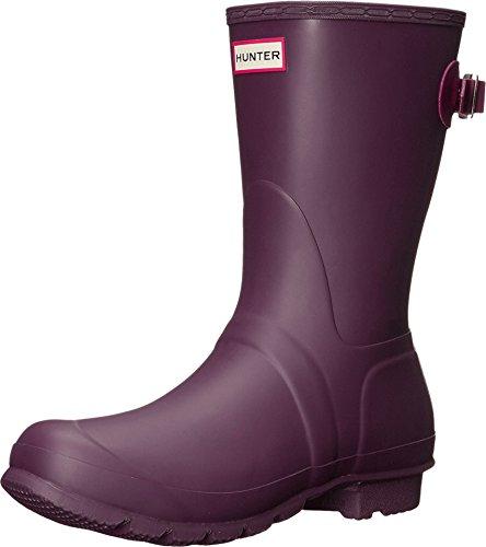 Hunter Women's Original Short Back Adjustable Rain Boot, Black Grape/Bright Violet, 7 B(M) US