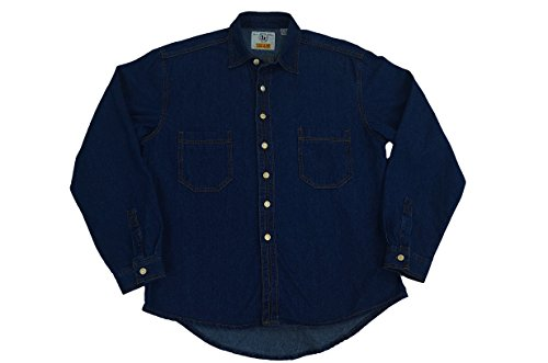 Eagle Denim Shirt - Men Eagle blue jeans stone wash blue long sleeve denim shirt size 2-XL