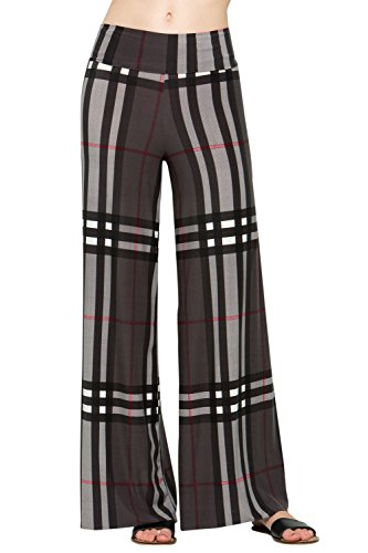 HerShe Women's Casual Comfort Palazzo Pants (3X-Large, P264BRAK Charcoal) by HerShe