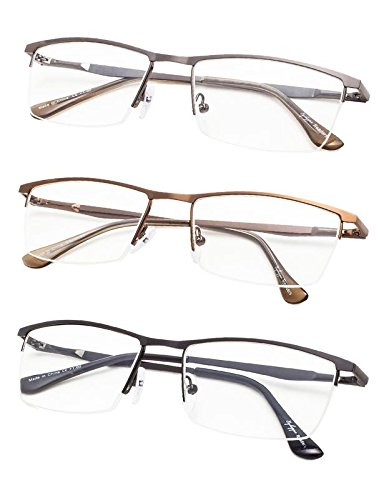 Half-Rim Reading Glasses 3-Pack with Spring Hinges