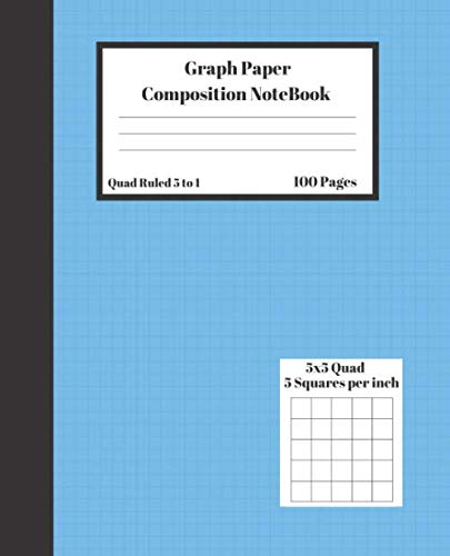Graph Composition Notebook 5 Squares per inch 5x5 Quad Ruled 5 to 1 100 Sheets: Cute  Blue cover Dark Stripe gift Book grid squared  paper Back To ... - Stripe Sheet 1