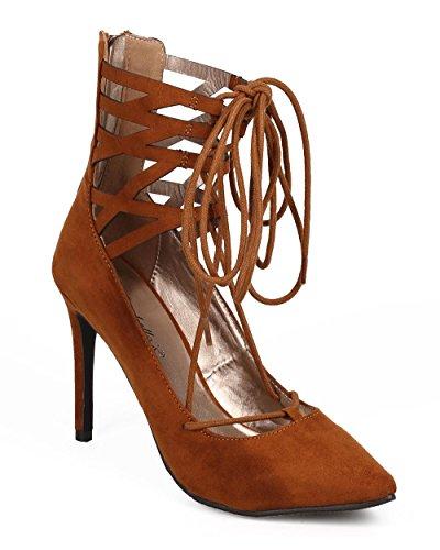 Gilly Heel Women Tie DG21 Suede Toe Pointy Pump Caged Tan Breckelles Stiletto OXTq6UT