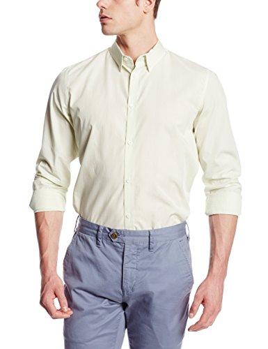 Vertical Woven Stripe Shirt (Calvin Klein Men's Varigated Stripe Hidden Button Down Woven Shirt, Butterfly, X-Large)