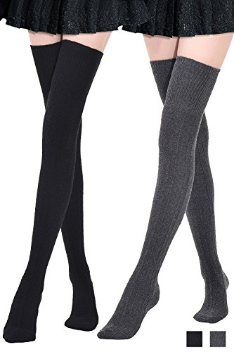 Kayhoma Extra Long Cotton Thigh High Socks Over the Knee High Boot Socks Cotton Leg Warmers