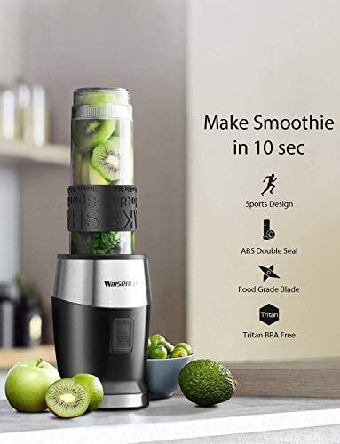 Blender Personal Smoothies Blender 2-in-1 Single Serve Smoothie Maker 300W with 20 Oz Tritan Sports Bottle for Juices Shakes and Smoothies, Includes 60ml Coffee Grinder, Willsence