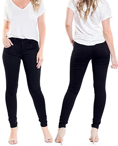 Women's Juniors Various Basic Body Flattering Stretchy Fit Jeans (J26114 Black, - Low Rise Mid Rise Jeans