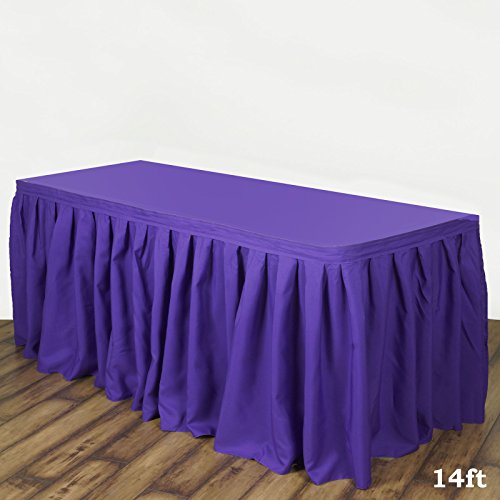 Efavormart 14ft Accordion Pleat Polyester Table Skirt for Kitchen Dining Catering Wedding Birthday Party Decorations Events - Purple