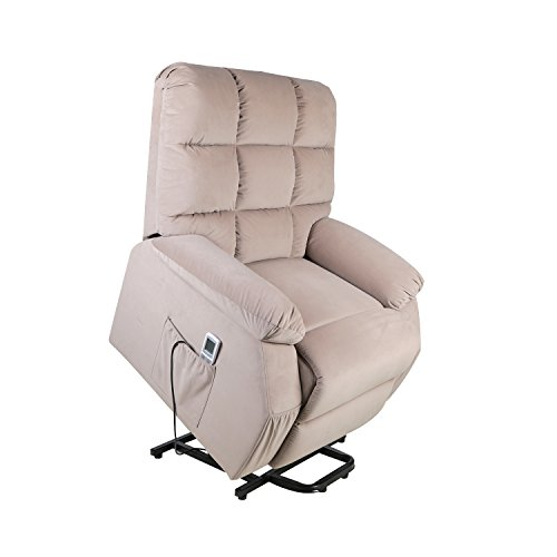 FVD Fabric Power Lift Recliner Chair with 8 Vibration Motors and a Heated System, Ergonomic Lounge Living Room Sofa Chair, Mocha