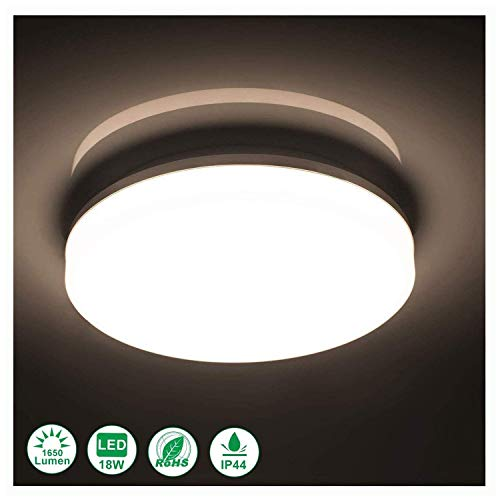 - Airand 4000K Ceiling Lights LED Flush Mount 18W Ceiling Lamps 9.5 Inch Flush Ceiling Light Fixture for Kitchen Bathroom Hallway Stairwell, 1650 Lumens, Waterproof IP44, 80Ra (Bright White)