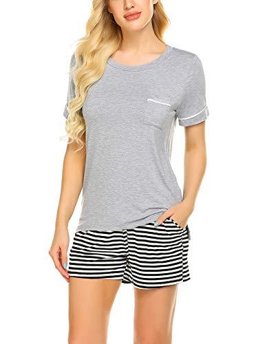 Ekouaer Women's Soft Scoop Neck Shorts Pajama Set Grey L ()