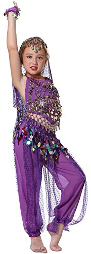 [Seawhisper Kid's Belly Dance Girl Halter Top, Harem Pants, Halloween Costumes Set] (Genie Outfit)