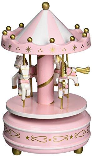 FreshGadgetz Wooden Merry-Go-Round Horse Music Box Christmas Birthday Gift Carousel Music (Wooden Music)