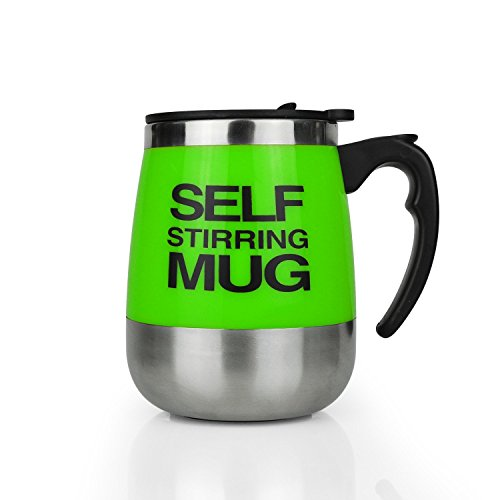 MEGAUS Self stirring mug, Auto Self Mixing Stainless Steel Coffee Cup for Bulletproof/Keto Coffee/Tea/Hot Chocolate/Milk/Cocoa Protein Shaker Mug for Office/Kitchen/Travel/Home 450ml/15.2oz ()