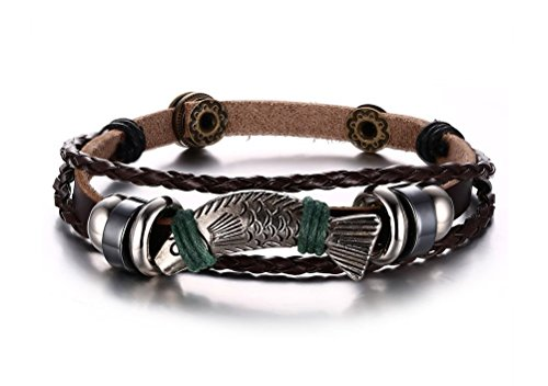 Vnox Bijoux rétro des hommes véritable bracelet en cuir tressé multi-fil envelopper bracelet avec poisson charme