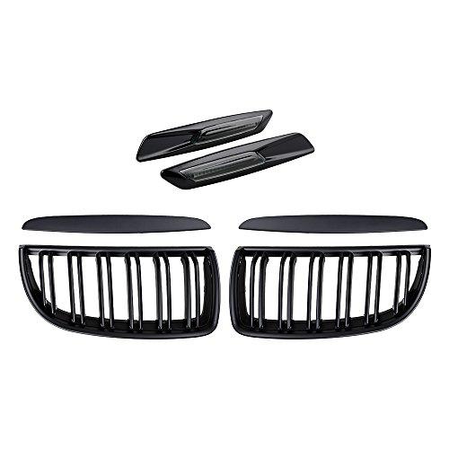 Fiber Grill Grille Carbon - 2X Euro Front Upper Kidney Grille Grill LH RH Kit Replacement for BMW Car E90 Pre-Facelift (Matte Black (Double Line), w/Carbon Fiber Pattern Side Marker)