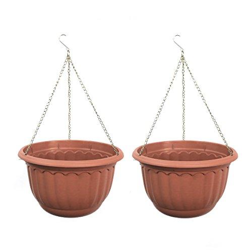 YIKUSH Plastic Garden Plant Hanging Planter Decor Pots 2 Pcs, Dia.12-Inch Round (2) by YIKUSH