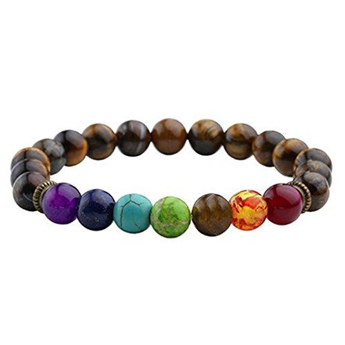 Bracelet Black Lava Healing Balance Beads Buddha Prayer Natural Stone Yoga tiger eye stone (Beaded Eye Watch Tigers)