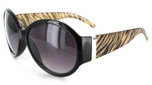 Savannah 1914 Women's Designer Sunglasses with Animal Patterned Frames and Large Lenses (Black/Brown + Smoke)