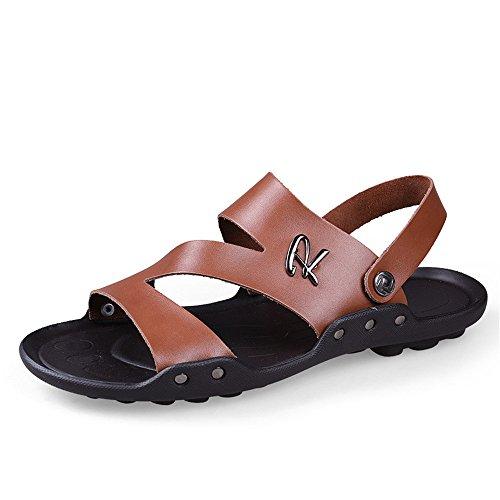 Brown 5 Sandales Version Tout D'été 22 aller Hommes Coréenne Hommes Cuir Plage Pour En 5cm 28 De Pantoufles TqnAHTR