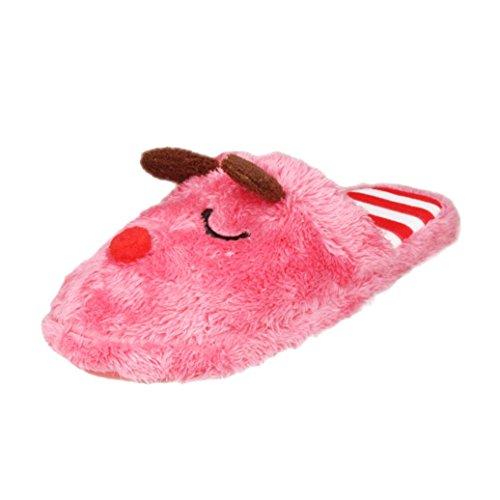 Ama (tm) Femmes Doux Chaud Dessin Animé Intérieur Maison Pantoufles Anti-dérapant Chaussures Rouge