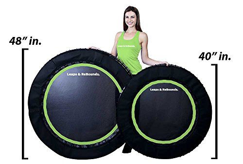 Leaps & Rebounds Bungee Rebounder - The Fun Fitness Rebounder Trampoline - Steel Frame, 32 Latex Rubber Bungees, Zero Stretch Jump Mat - Named Best Value Rebounder - 1 Year Warranty (Green, 48 Inches)