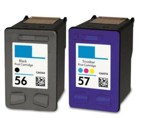2PK For HP 56 57 Ink Cartridge For PSC 2410 2510 2210 2175 2110 1350 1315
