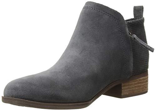 TOMS Women's Deia Fashion Boot Forged Iron Suede/Textured Velour Mix 9.5 Medium US