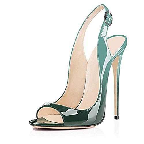 Grande Talons D'été Green Hauts Toe 43 Taille Marque Femmes Chaussures 33 Peep Gradient Hoesczs Mince Femme Sandales 1wq57xH