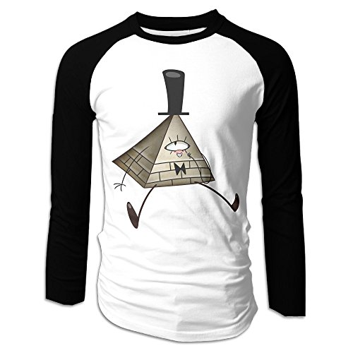 Creamfly Mens Gravity Falls Bill Cipher Long Sleeve Raglan Baseball Tshirt -