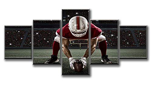 (Contemporary Wall Art Pictures 5 PCS Canvas NFL Sports Painting American Football Football Player with Red Uniform Framed Artwork Home Decor for Living Room Gallery-wrapped Ready to Hang(50''Wx24''H))