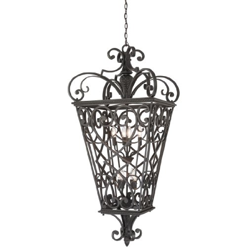 Quoizel FQ1931MK01 Fort Quinn Wrought Iron Outdoor Pendant Lighting, 8-Light, 480 Watts, Marcado Black (52