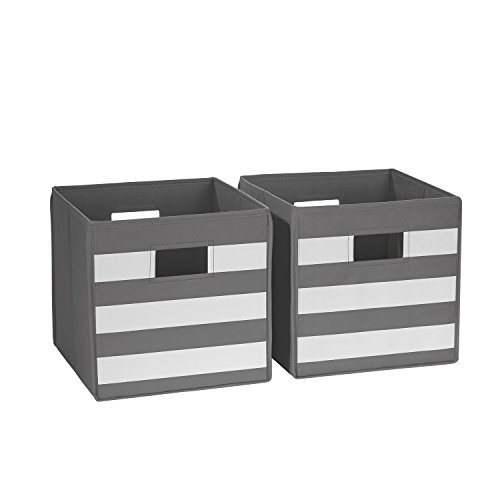 (RiverRidge 02-152 2-Piece Folding Storage Bins, Gray/White)