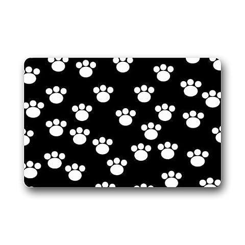 Love Girl Black and White Cute Dog Cat Paw Print Animal Paw Pattern Doormat Door Mat Rug Indoor/Outdoor/Floor Mat Rug for Home/Office/Bedroom (Girls Black Rug)