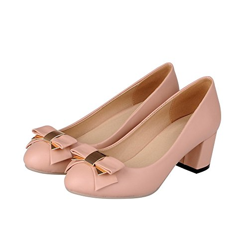 Heels VogueZone009 Women's Pumps On Pull Closed Material Soft Toe Solid Kitten Pink Round Shoes H0PHandr