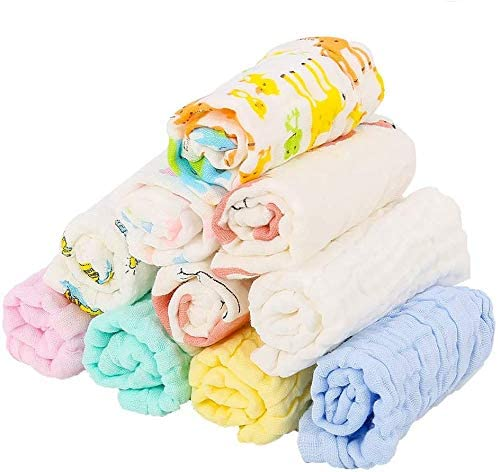 Paquete de 10 gasas para bebé, muselina (algodón), cuadradas, suaves, 28 x 28 cm: Amazon.es: Hogar