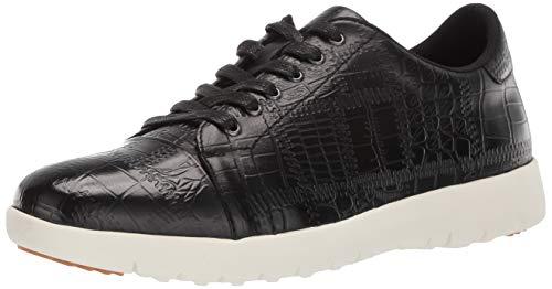 STACY ADAMS Men's Halcyon Exotic-Print Cap-Toe Lace-Up Sneaker, Black 14 M US
