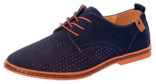 r Plain Toe Breathable Outlet Dress Shoes Casual Oxfords(10 D(M)US,blue) (New Santoni Gray Shoes)