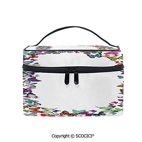 Printed Portable Travel Makeup Cosmetic Bag Magical Creatures Flying Monarch Butterflies Fragility Grace Artistic Collection Decorative Durable storage bag for Women Girls