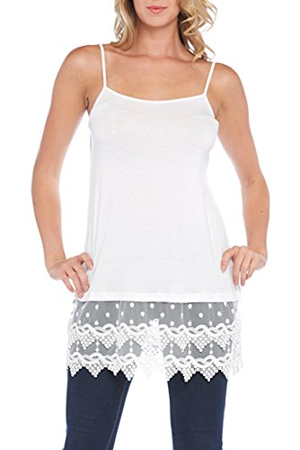 Kaktus Women's Plus Size Lace Camisole and Shirt Extender, White, 3X